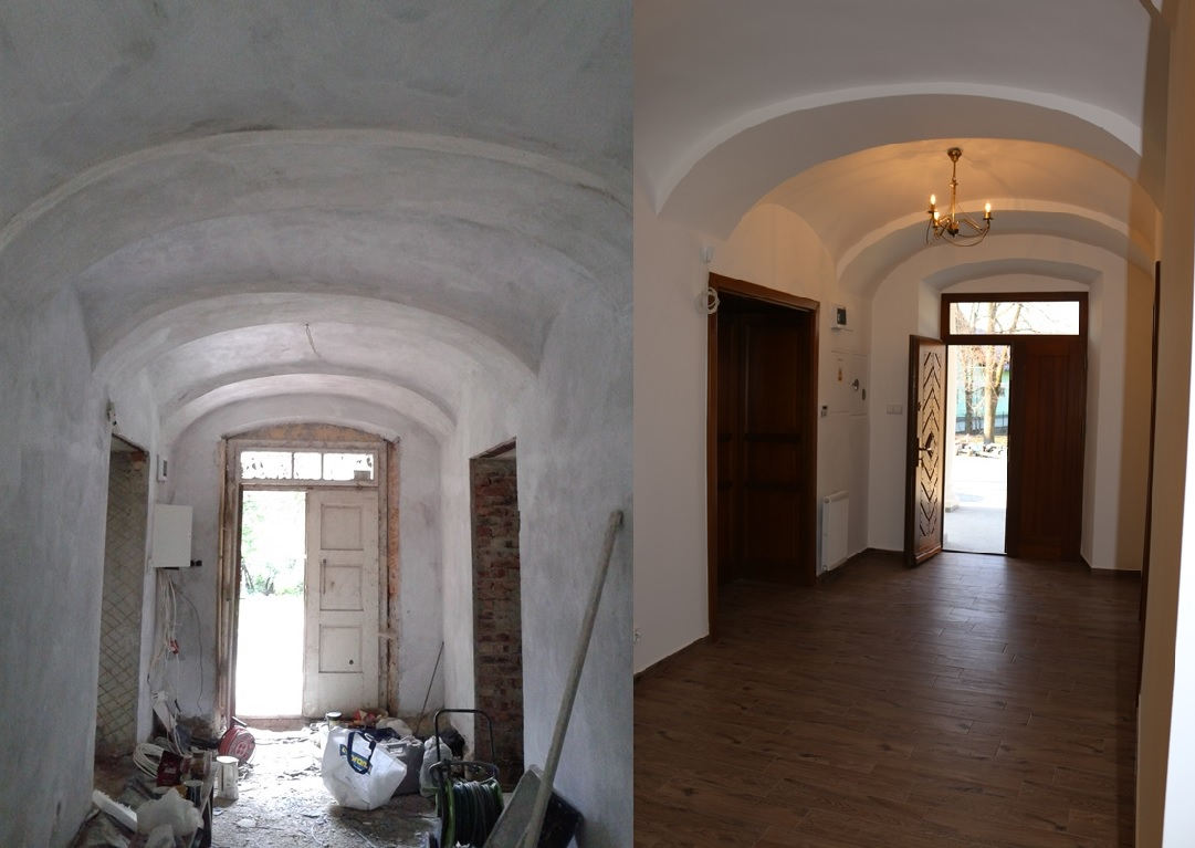 wnętrze Starej Plebanii w Jeleśni przed i po remoncie nadzorowanym przez firmę Tobud