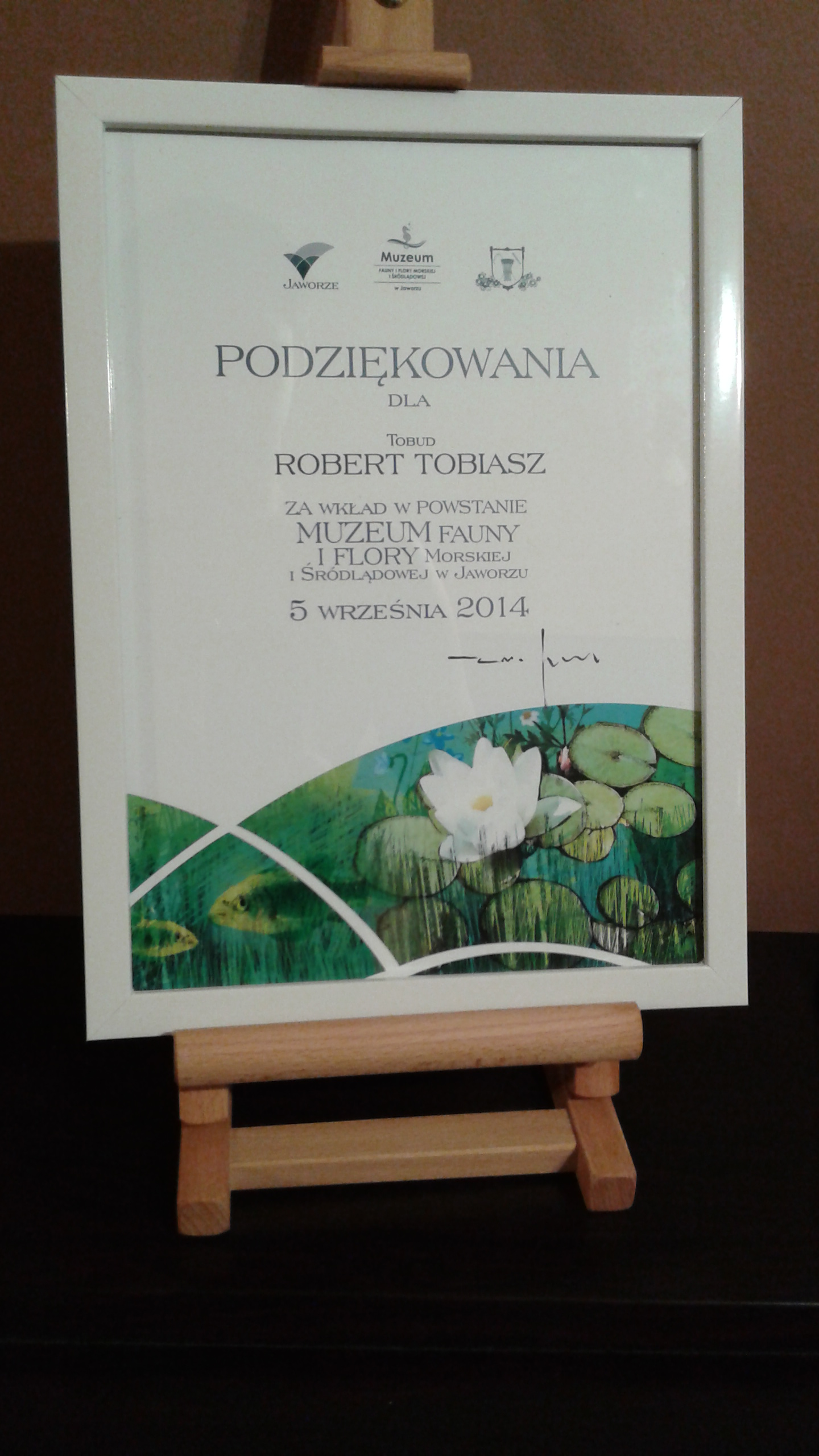 Podziękowania dla firmy Tobud za wkład w powstanie Muzeum fauny i flory morskiej i śródlądowej w Jaworzu