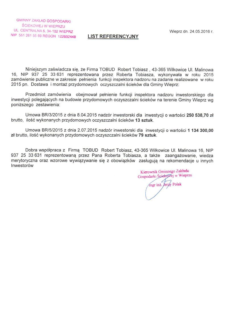 Referencje od Gminnego Zakładu Gospodarki Ściekowej w Wieprzu